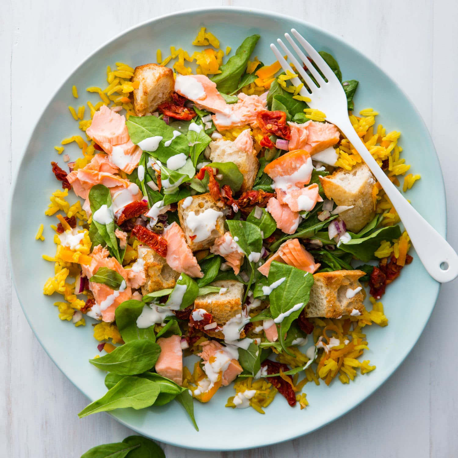 Salmon Salad Recipe Healthy  Flaked Salmon Salad with Baked Rice