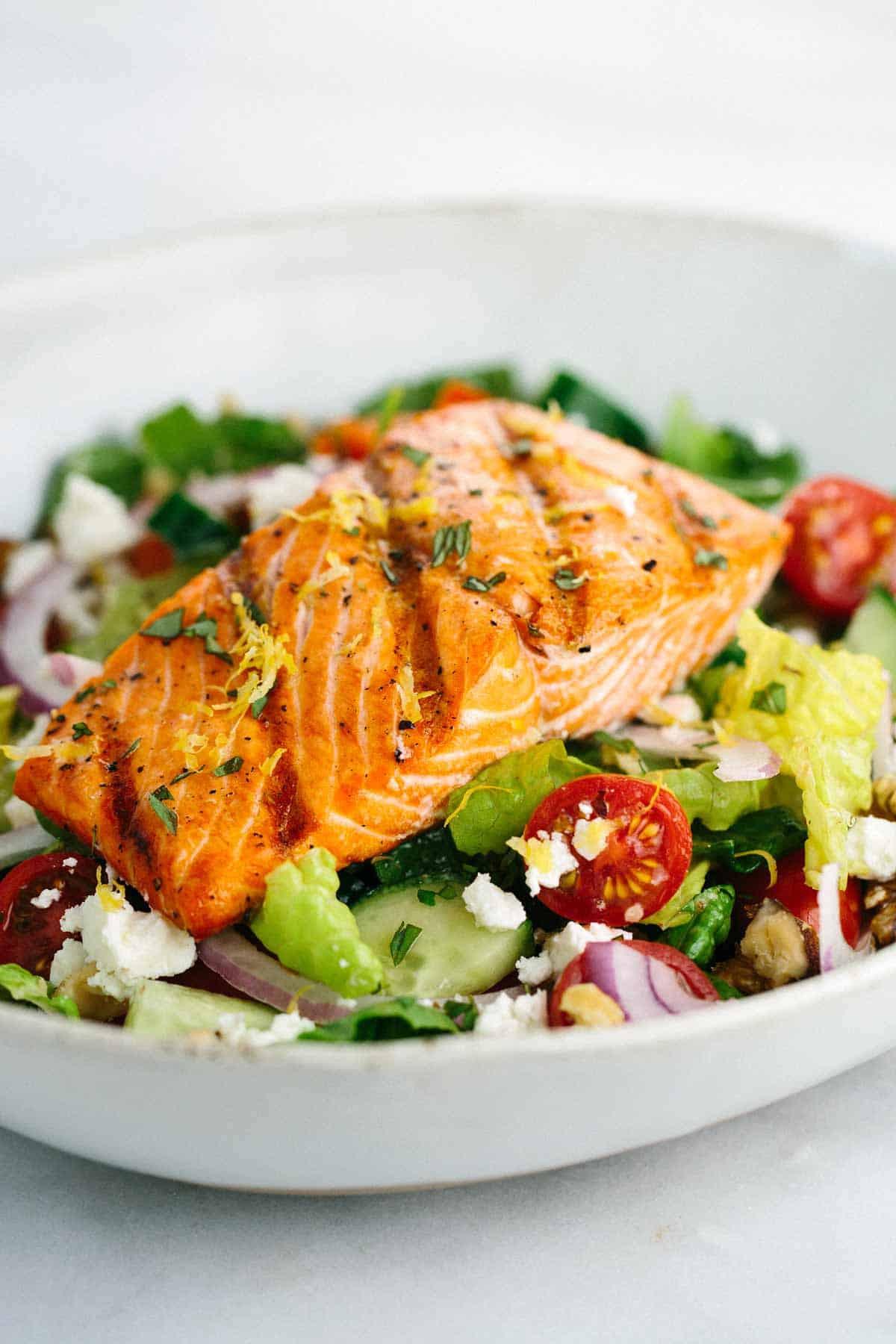 Salmon Salad Recipe Healthy  Grilled Salmon Greek Salad with Lemon Basil Dressing