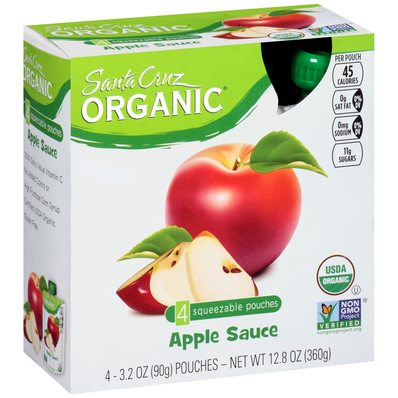 Santa Cruz Organic Applesauce  Santa Cruz Organic Apple Sauce Original 4 Pouches
