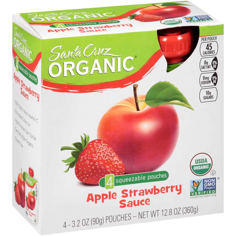 Santa Cruz Organic Applesauce  Santa Cruz Organic Apple Sauce Apple Strawberry 4 Pouches