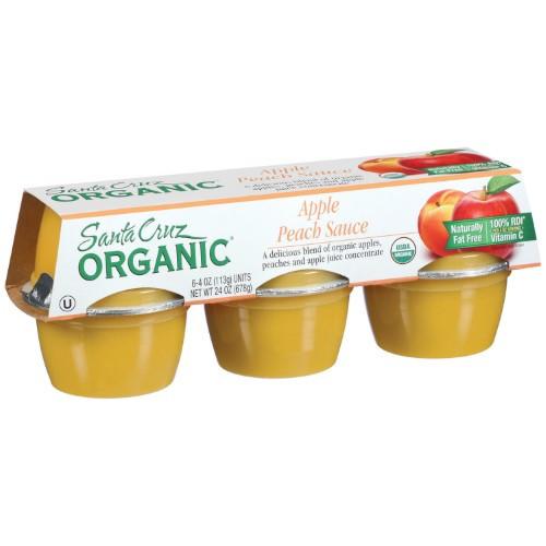 Santa Cruz Organic Applesauce  Santa Cruz Organic Apple Peach Sauce 4 Ounce 6 Count