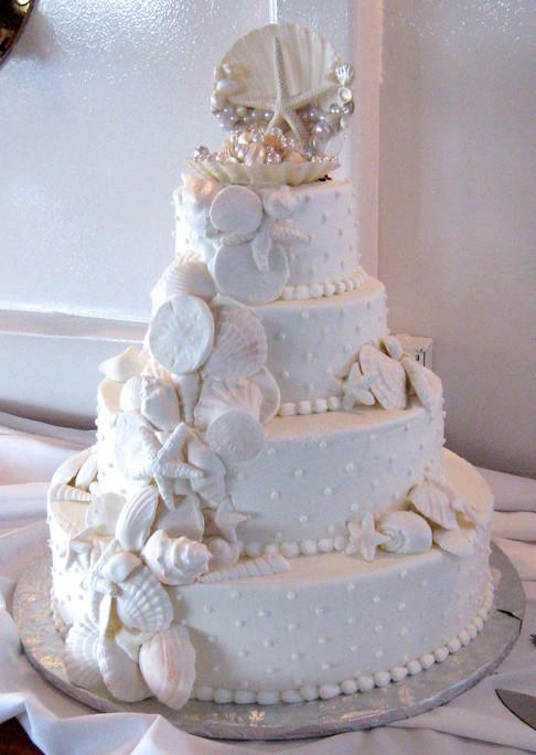 Seashell Wedding Cakes  A Family Tree of Holidays Christmas Trees Beach Themed
