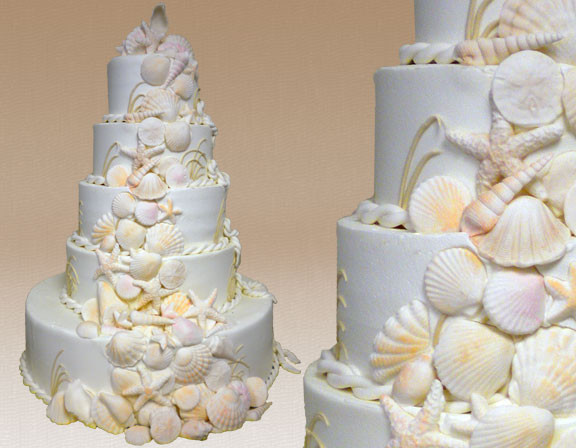 Seashells Wedding Cakes  Seashell Wedding Cakes Montilio s Baking pany