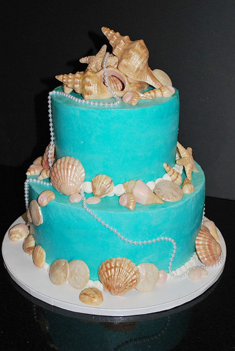 Seashells Wedding Cakes  Round Seashell Wedding Cakes Wedding Cake Cake Ideas by