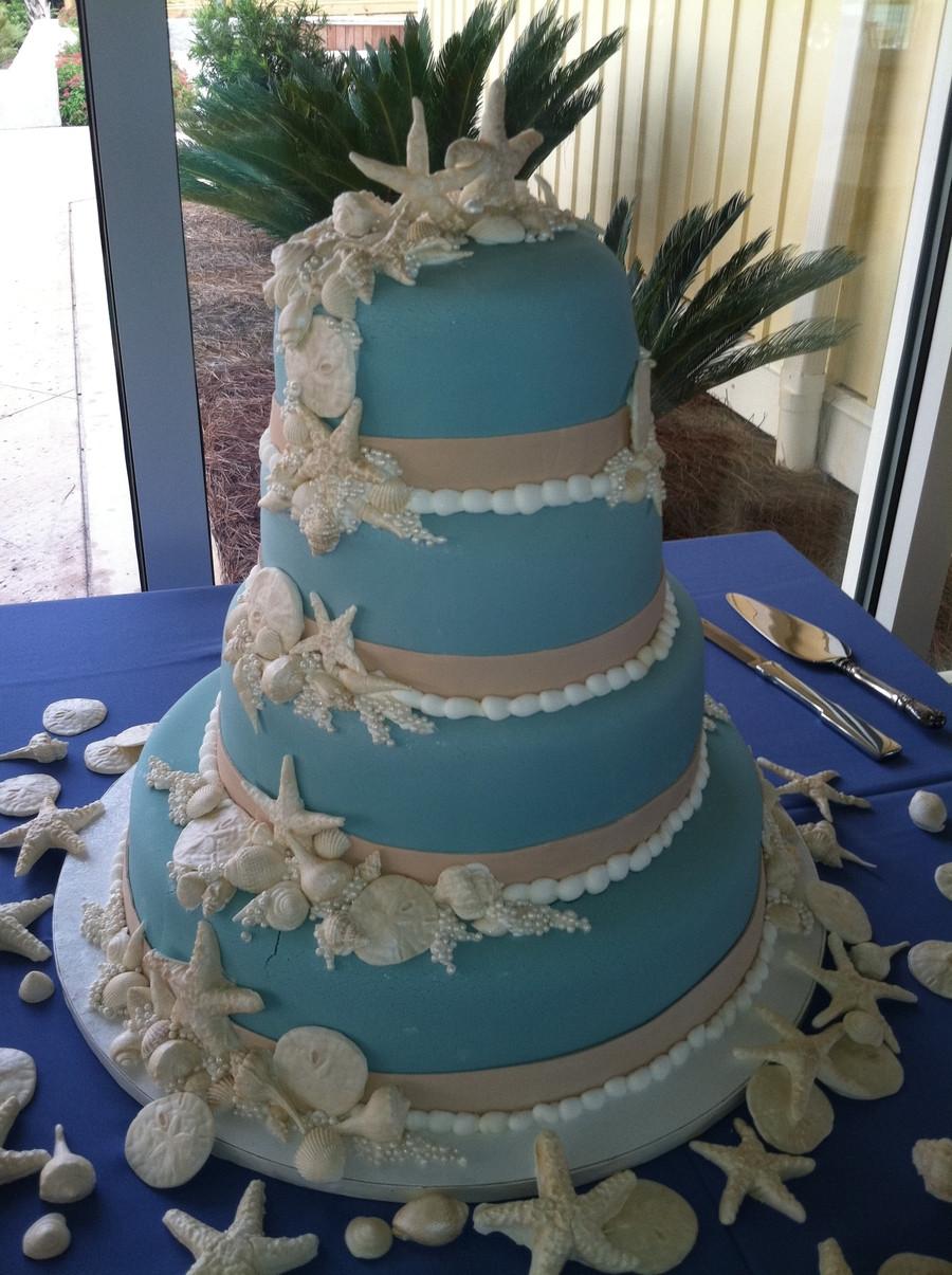 Seashells Wedding Cakes  Wedgewood Blue Seashell Wedding Cake CakeCentral