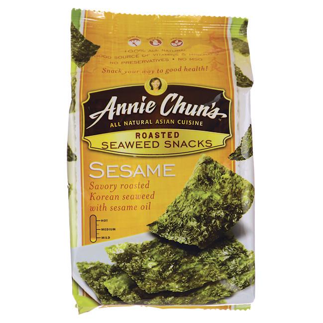 Seaweed Snacks Healthy  Annie Chun s Roasted Seaweed Snacks Sesame 0 35 oz 10