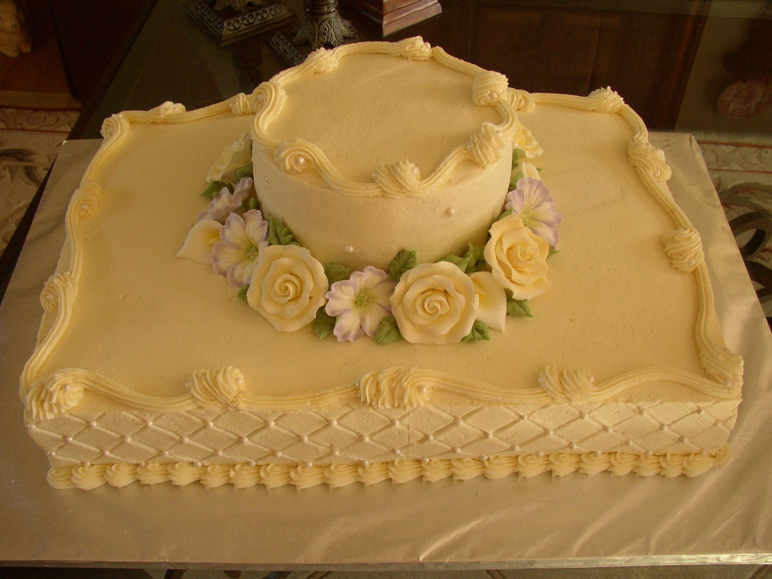 Sheet Cake Wedding  sheet cake wedding Buttercream qilted with pearls