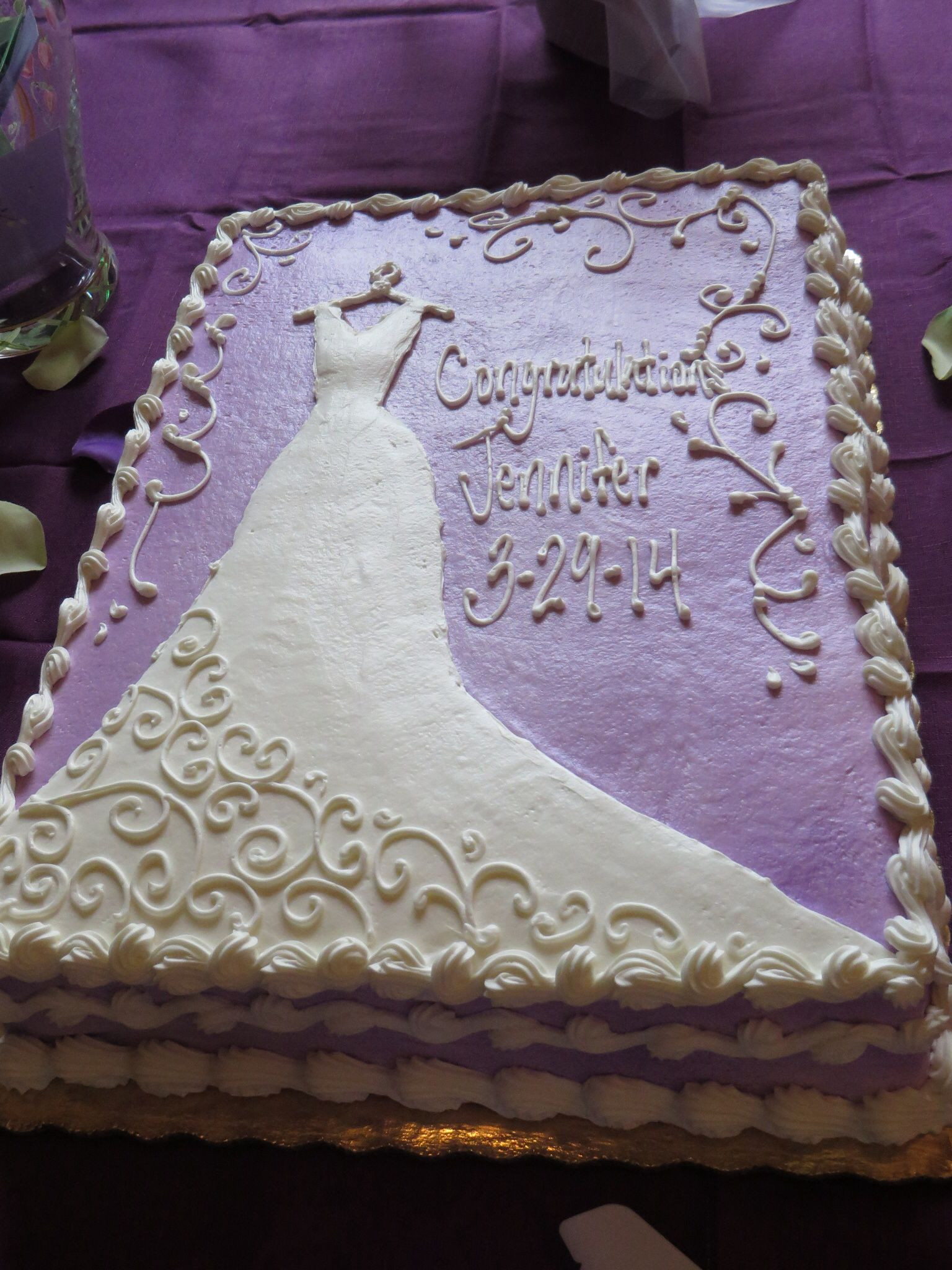 Sheet Cake Wedding  Purple bridal shower cake Wedding cakes