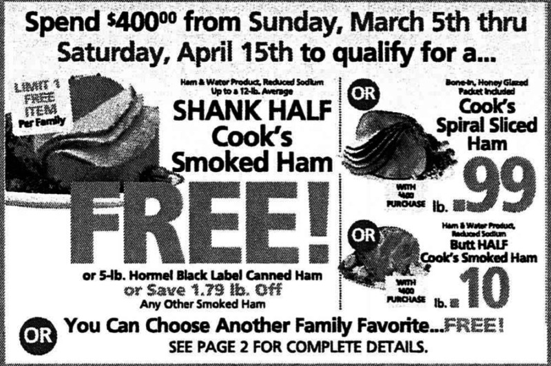 Shoprite Free Easter Ham  FREE Holiday Dinner at ShopRite Earn a FREE Turkey Ham