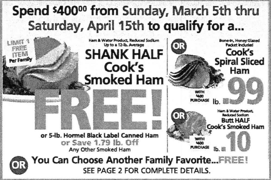 Shoprite Free Easter Ham  ShopRite Holiday Dinner Promo Earn a FREE Turkey Ham
