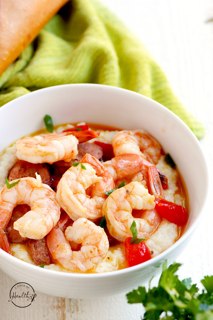 Shrimp And Grits Healthy  Cajun Shrimp and Grits with Andouille Sausage A Pinch