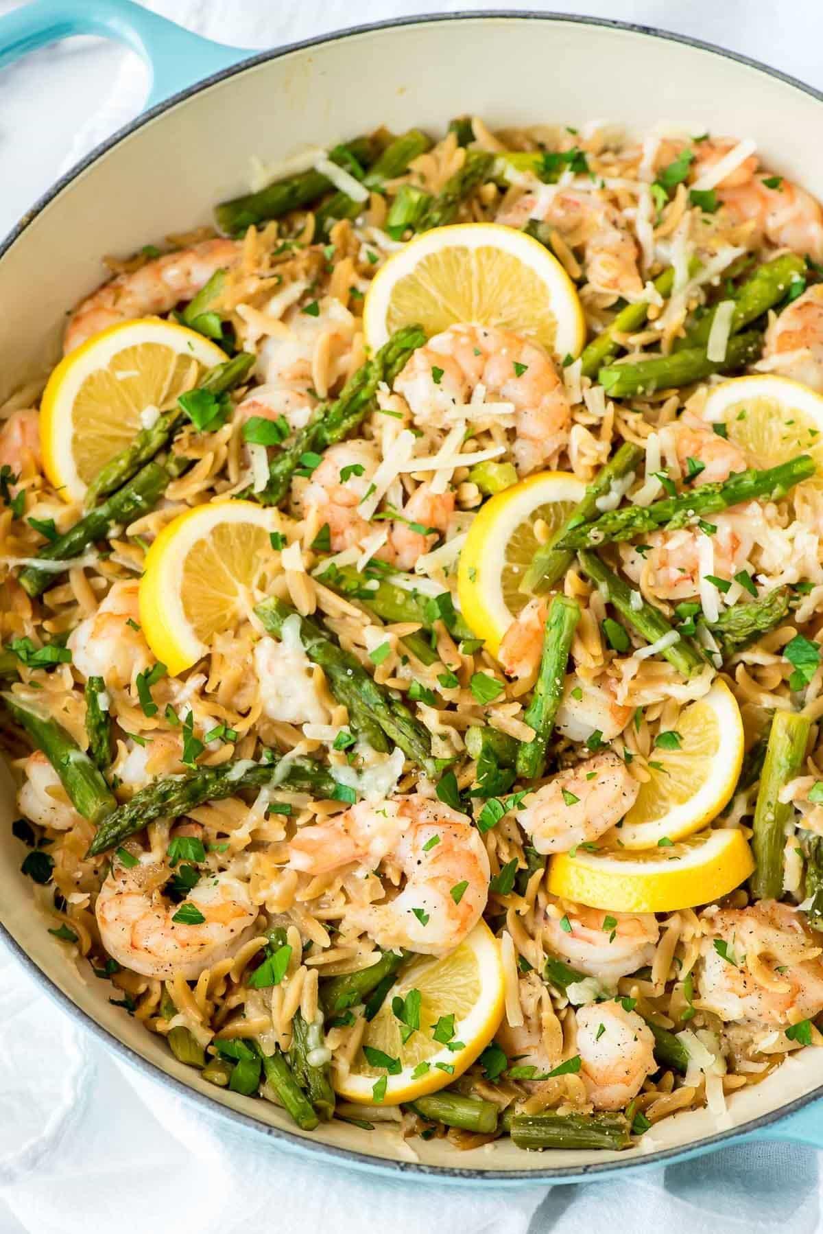 Shrimp Pasta Healthy  Lemon Shrimp Pasta with Orzo and Asparagus