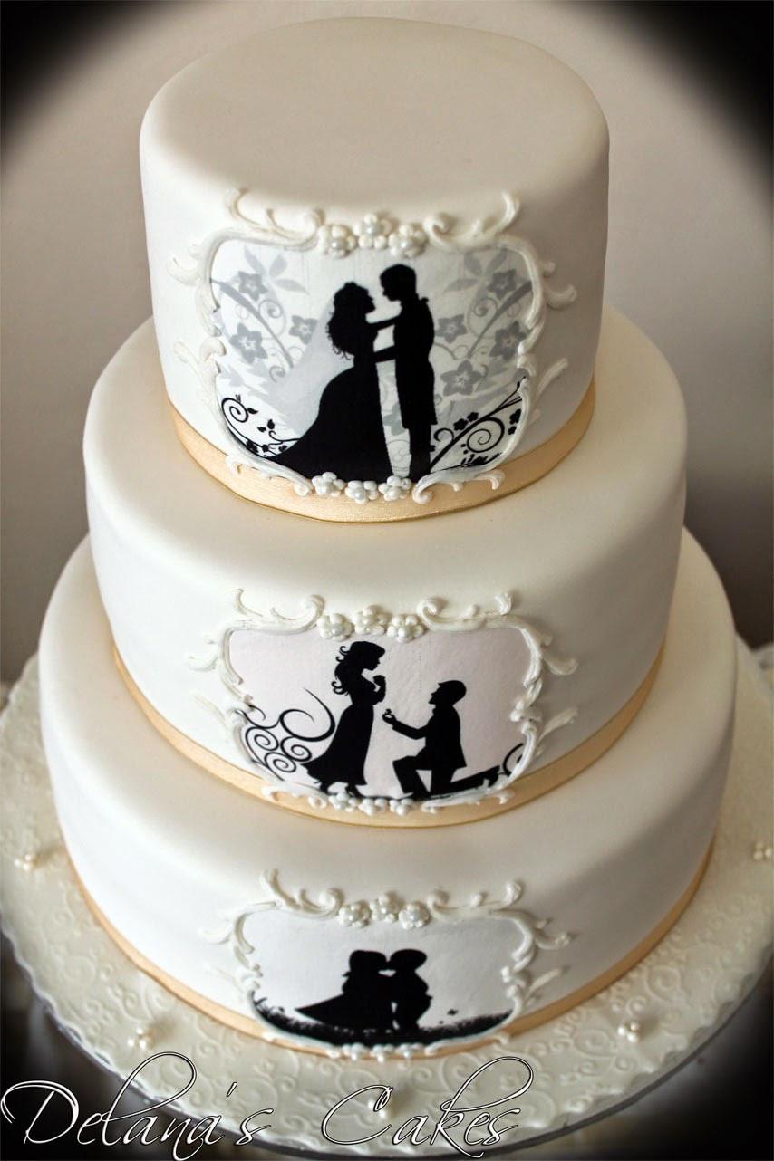 Silhouette Wedding Cakes  Delana s Cakes Silhouette Wedding Cake
