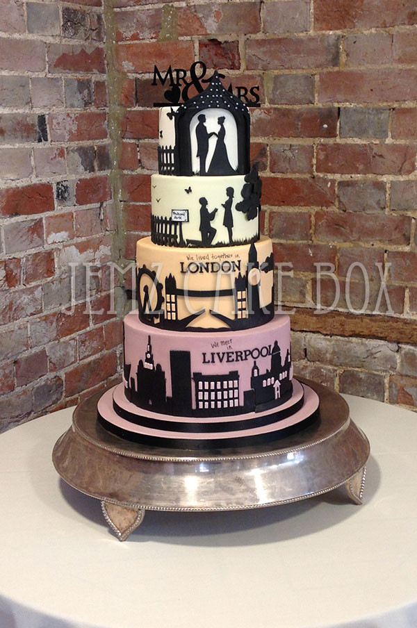 Silhouette Wedding Cakes  Silhouette London Liverpool Skyline Wedding Cake From £650