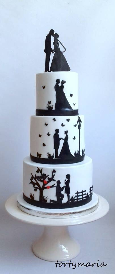 Silhouette Wedding Cakes  Wedding cake with silhouette cake by tortymaria CakesDecor