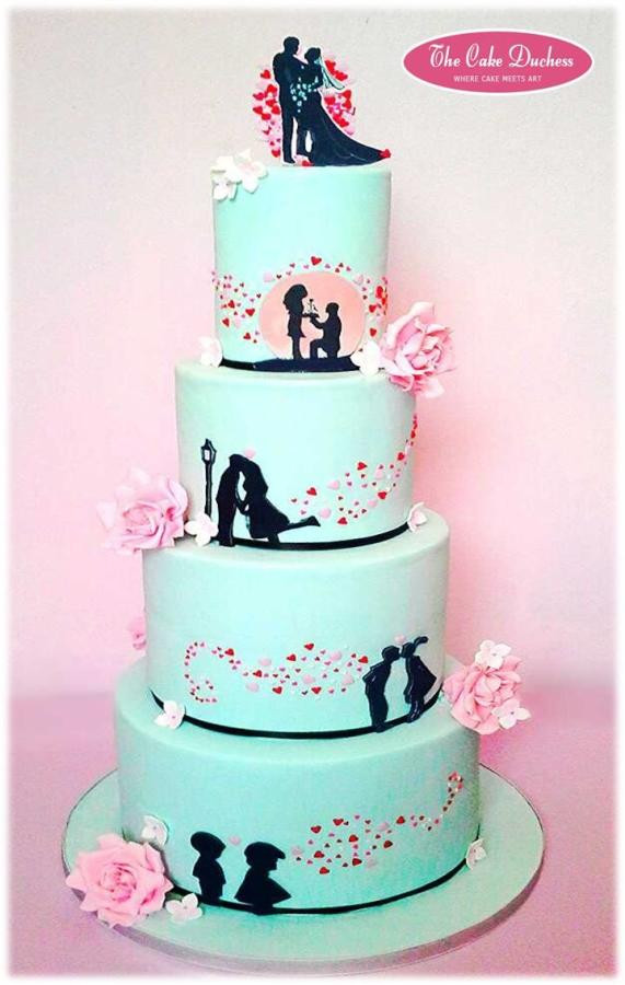 Silhouette Wedding Cakes  Fun and Cute Silhouette Inspired Cake cake by Sumaiya