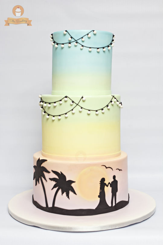 Silhouette Wedding Cakes  Pastel rainbow silhouette wedding cake cake by The