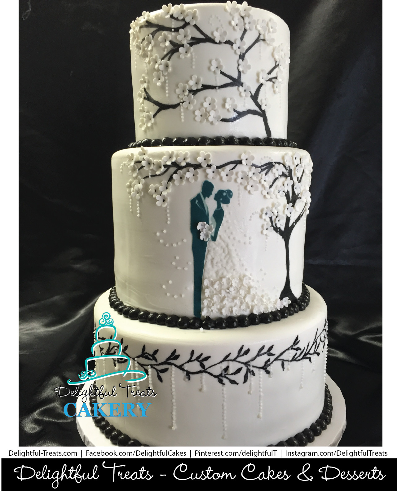 Silhouette Wedding Cakes  Bride and Groom Silhouette Custom Wedding Cake Fondant