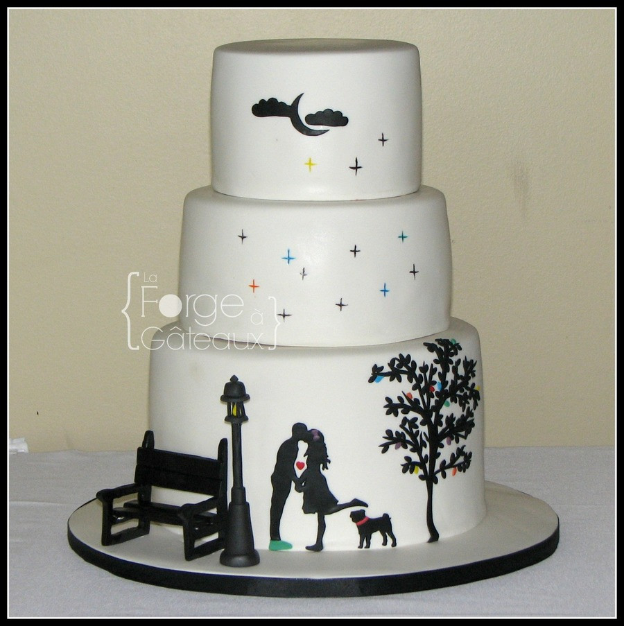 Silhouette Wedding Cakes  Silhouette Couple Wedding Cake CakeCentral