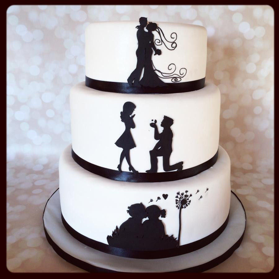 Silhouette Wedding Cakes  Silhouette love story Cake by Sweet cakes by Jessica