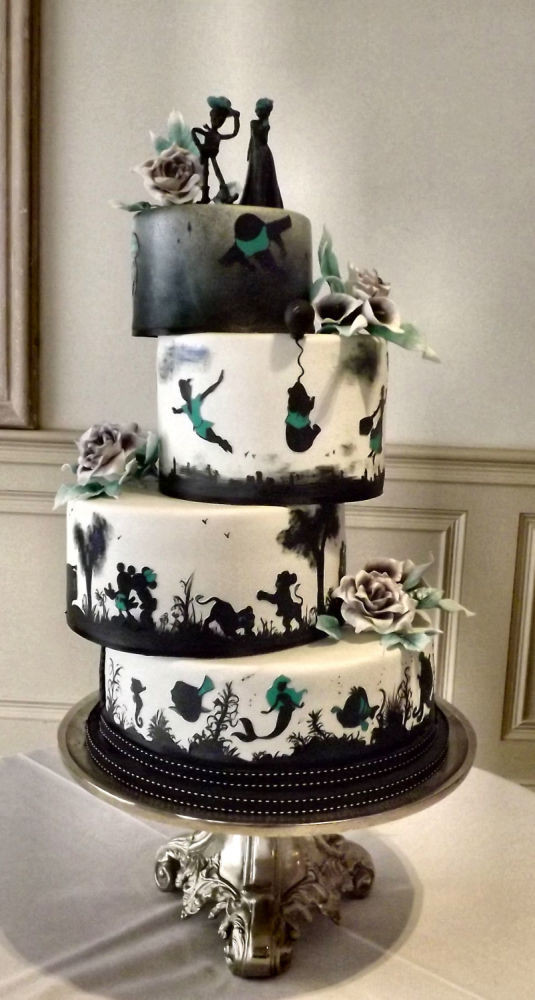 Silhouette Wedding Cakes  Disney Silhouette Wedding Cake Cake by Storyteller Cakes