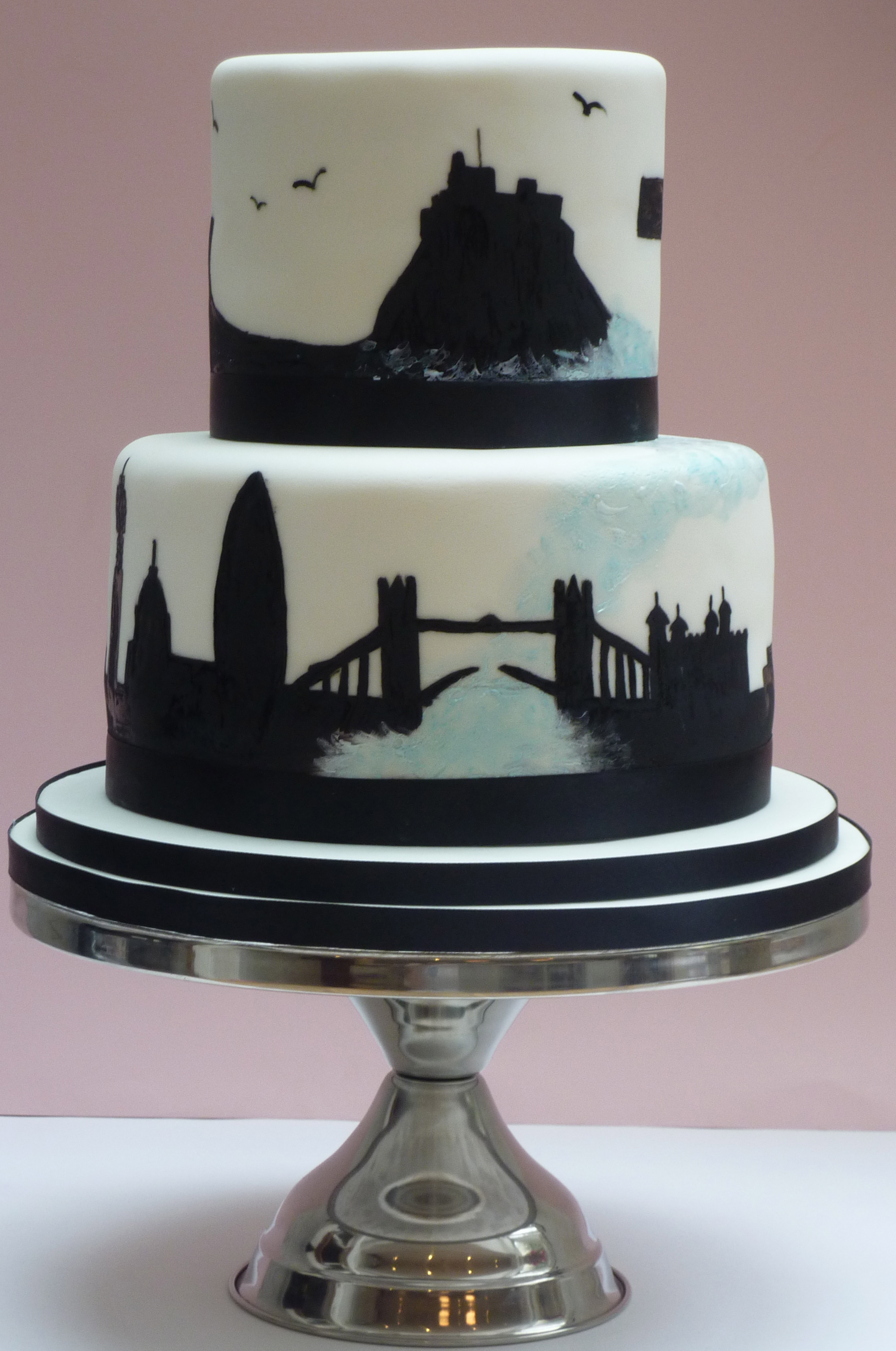 Silhouette Wedding Cakes  London and Northumberland Silhouette Wedding Cake