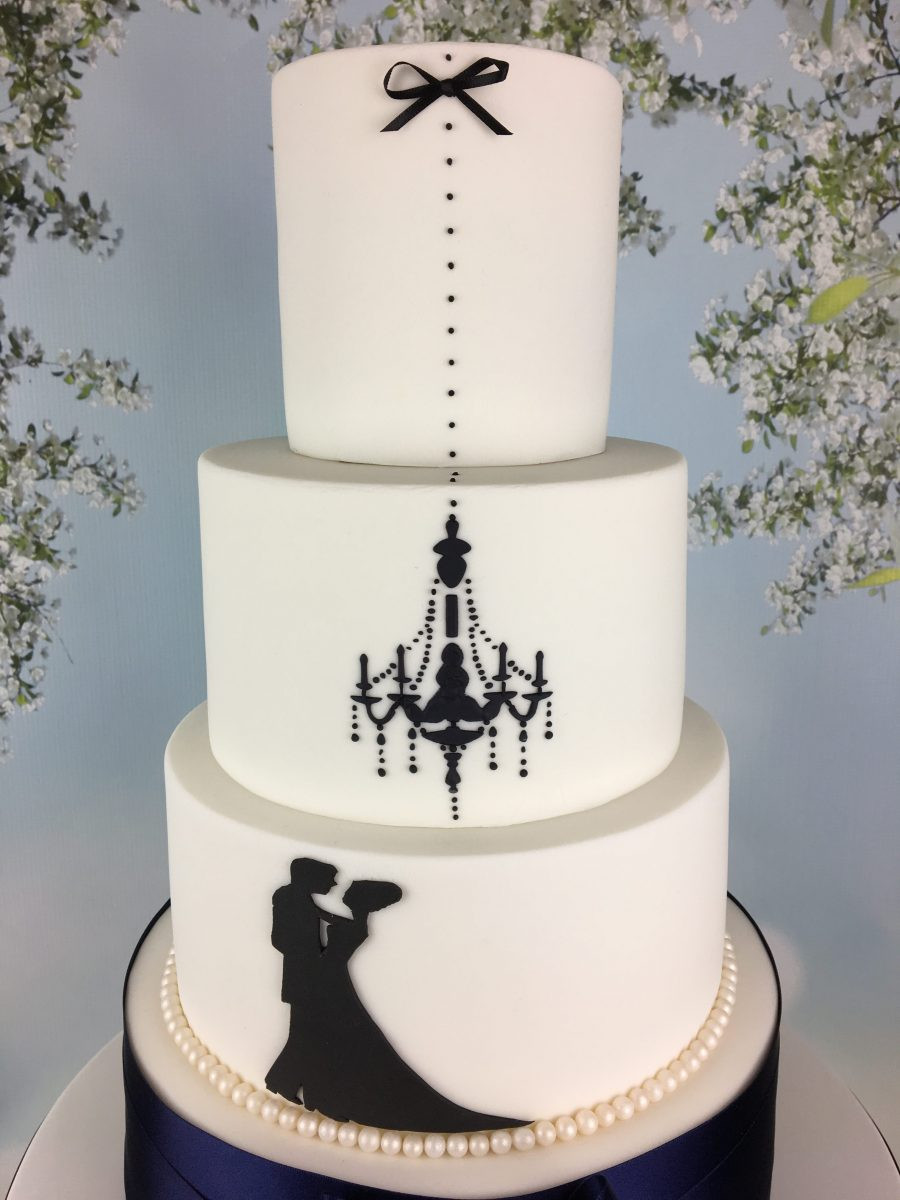 Silhouette Wedding Cakes  navy blue and white silhouette wedding cake Mel s