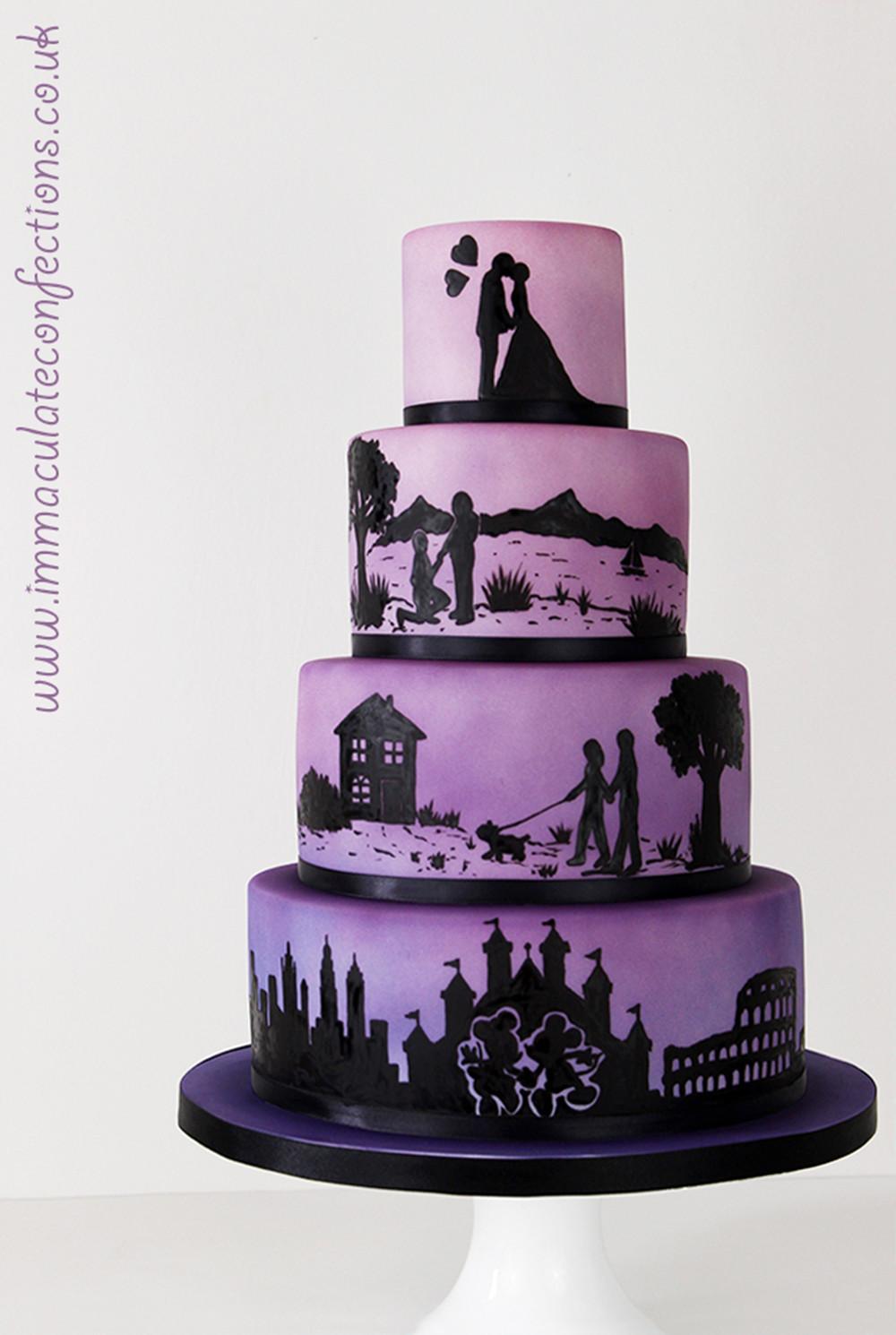 Silhouette Wedding Cakes  Ombré Silhouette Wedding Cake Cakes by Natalie Porter