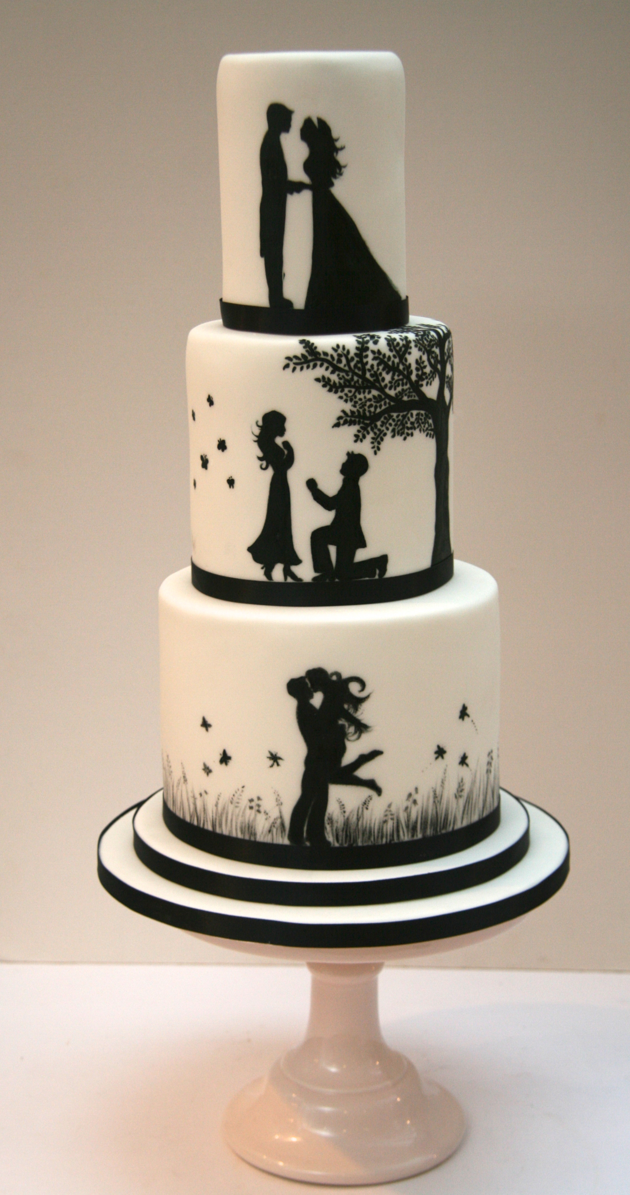 Silhouette Wedding Cakes  Romantic Silhouette Wedding Cake London