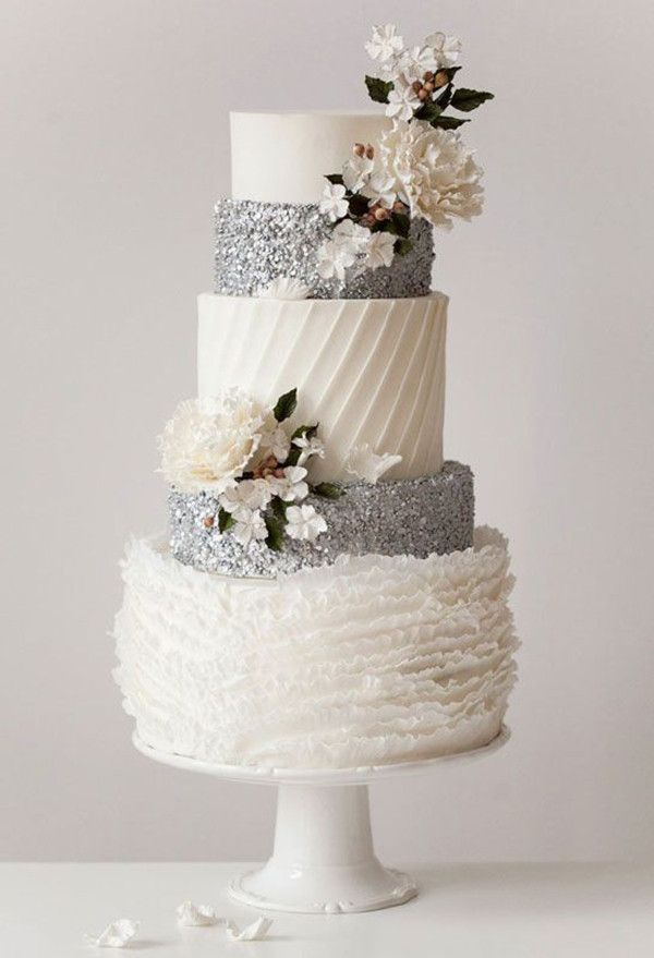 Silver And White Wedding Cake  24 Fab Glittery And Sparkling Wedding Cake Ideas For 2016