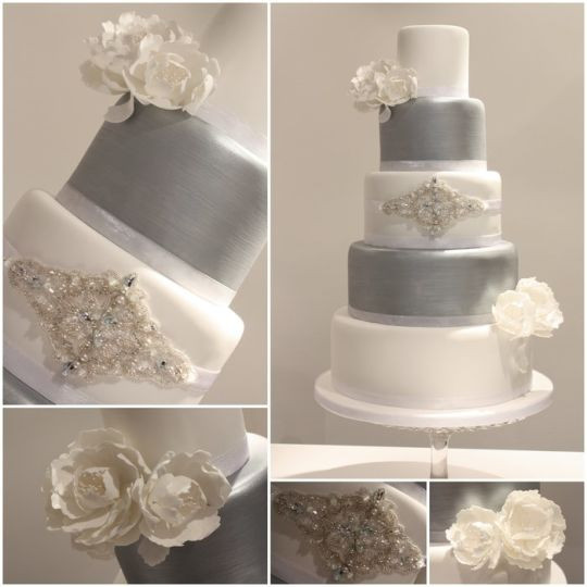 Silver And White Wedding Cake  White And Silver Wedding Cakes Wedding and Bridal