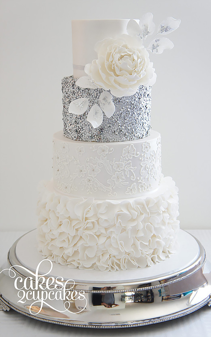 Silver And White Wedding Cake  Silver Wedding Cake Decorations