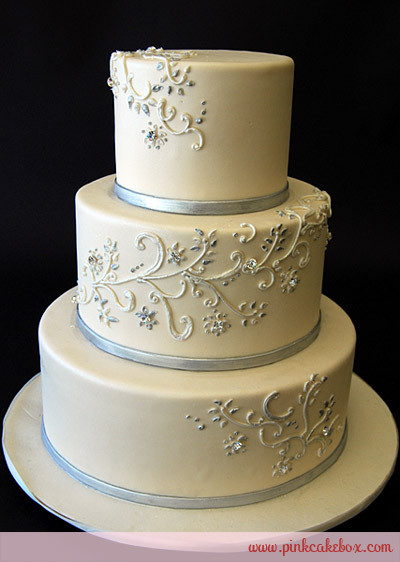 Silver And White Wedding Cake  Elegant Silver and White Wedding Cake