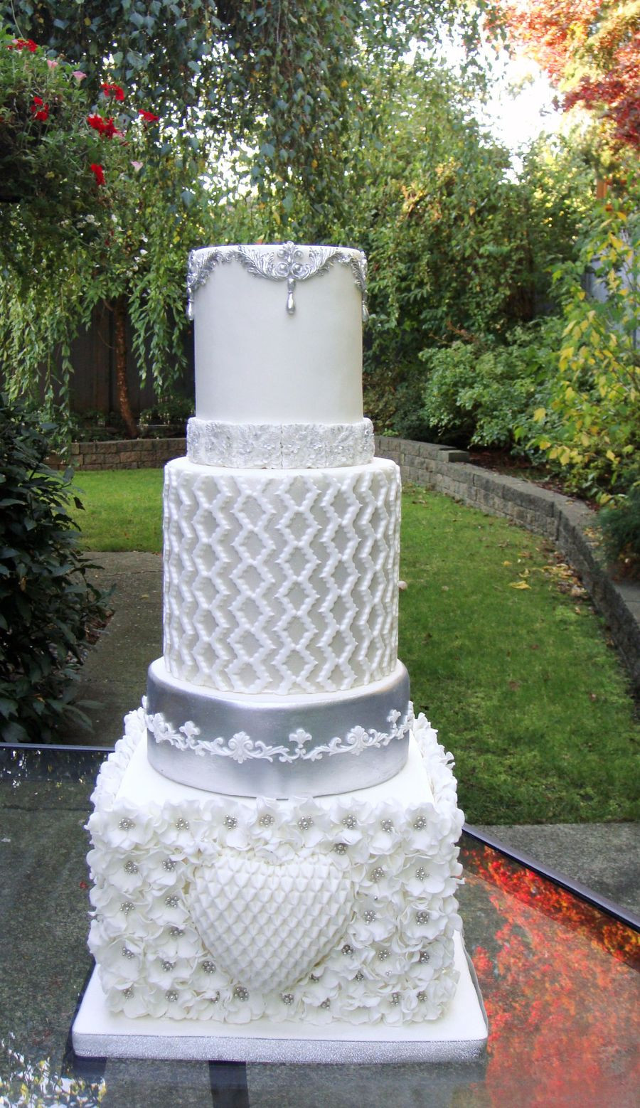 Silver And White Wedding Cake  White And Silver Wedding Cake CakeCentral