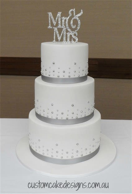 Silver And White Wedding Cake  Simple Silver and White Wedding Cake cake by Custom Cake