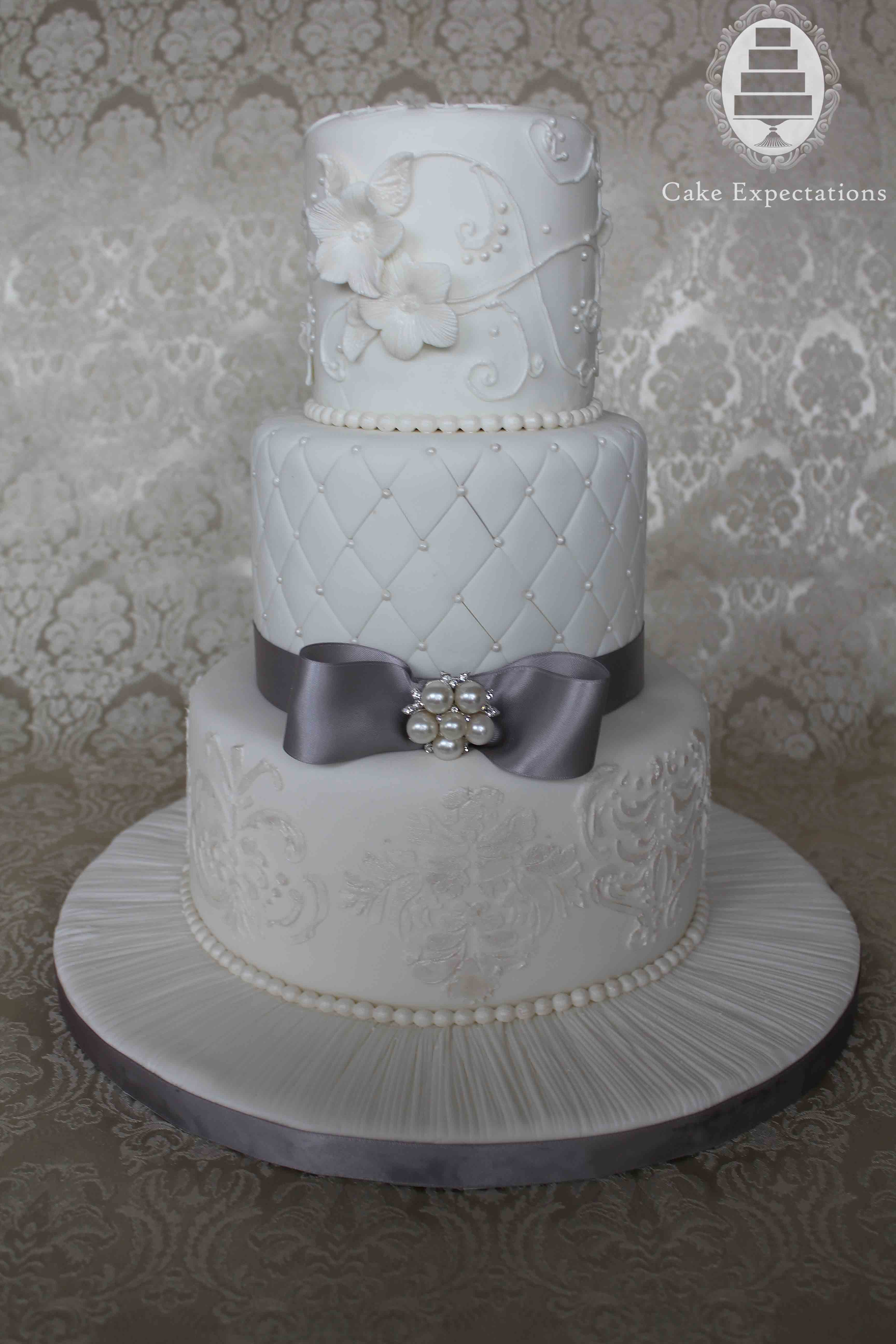 Silver And White Wedding Cake  Cake Expectations –