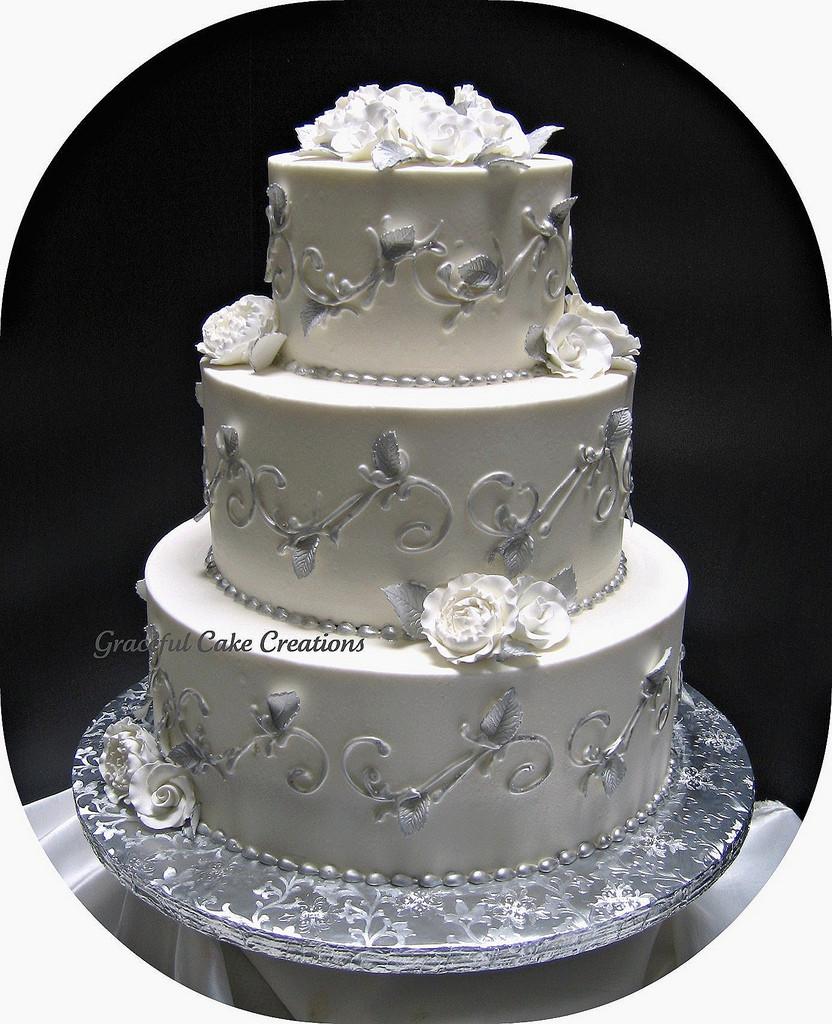 Silver And White Wedding Cake  Elegant Silver and White Wedding Cake Grace Tari