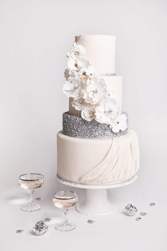 Silver And White Wedding Cake  30 Delicate White Wedding Cakes
