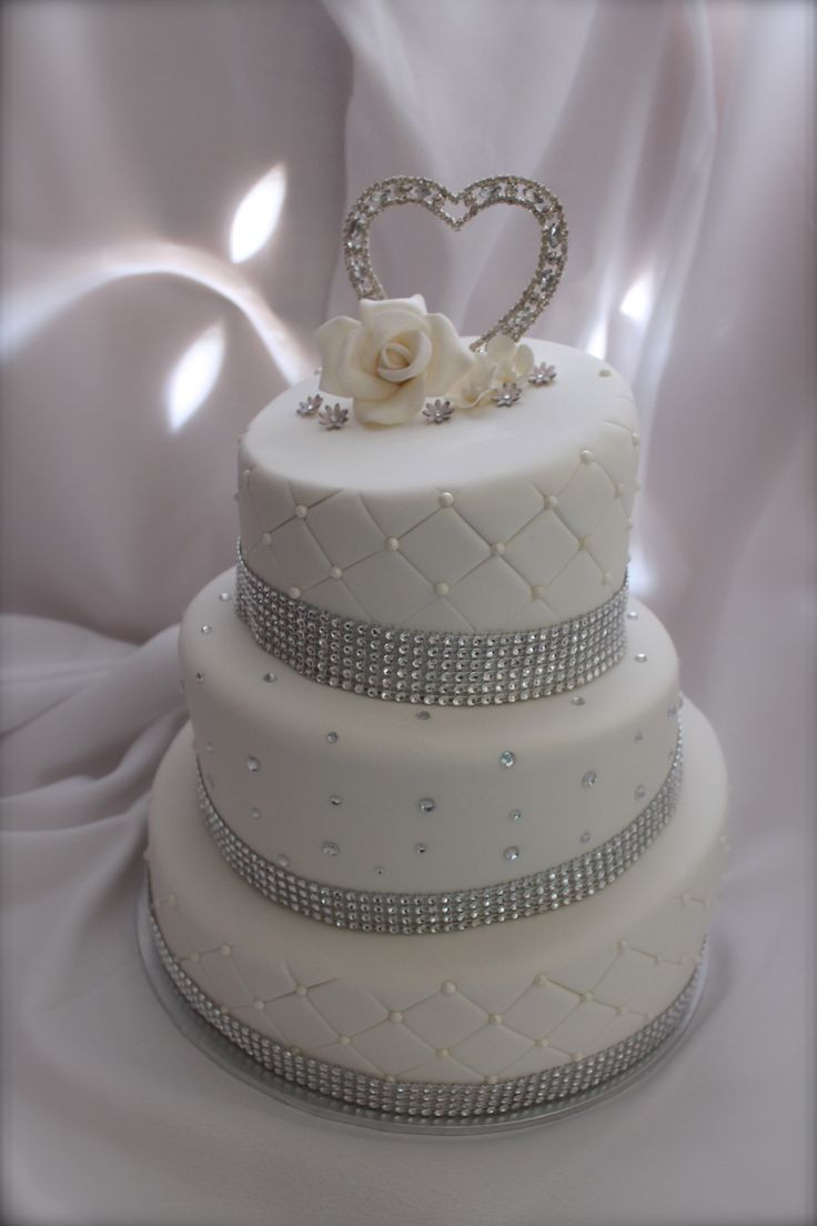 Silver And White Wedding Cake  white and silver wedding cake My Cakes