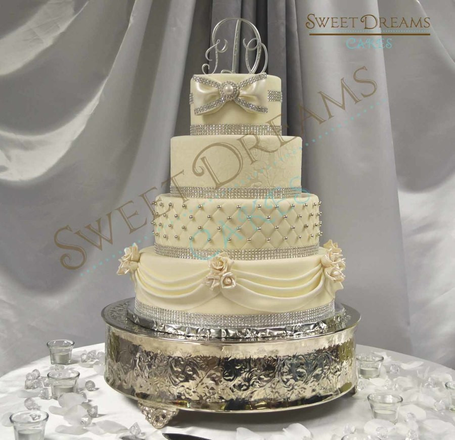 Silver Wedding Cakes  White And Silver Wedding Cake CakeCentral