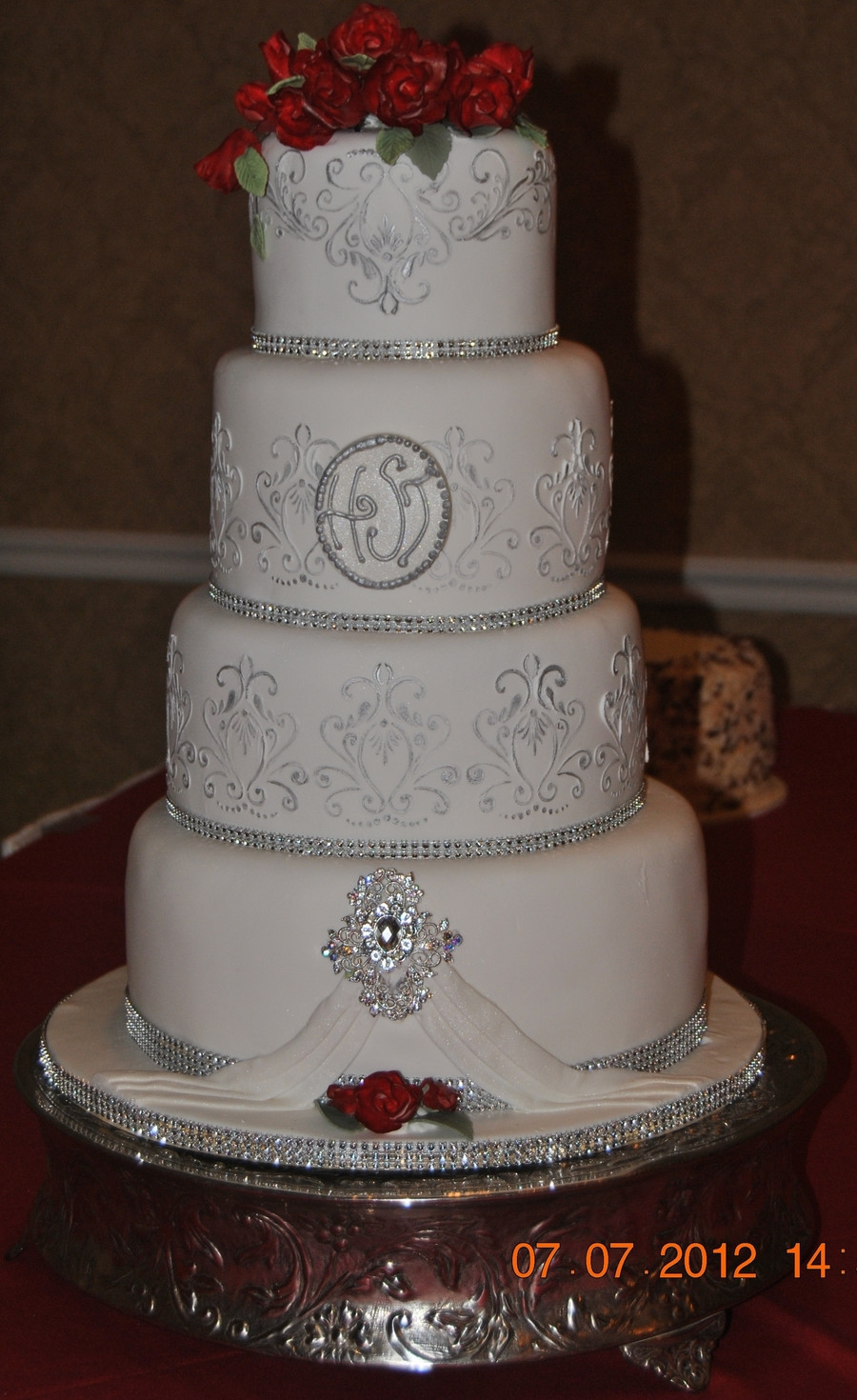 Silver Wedding Cakes  Silver & Red Wedding Cake CakeCentral