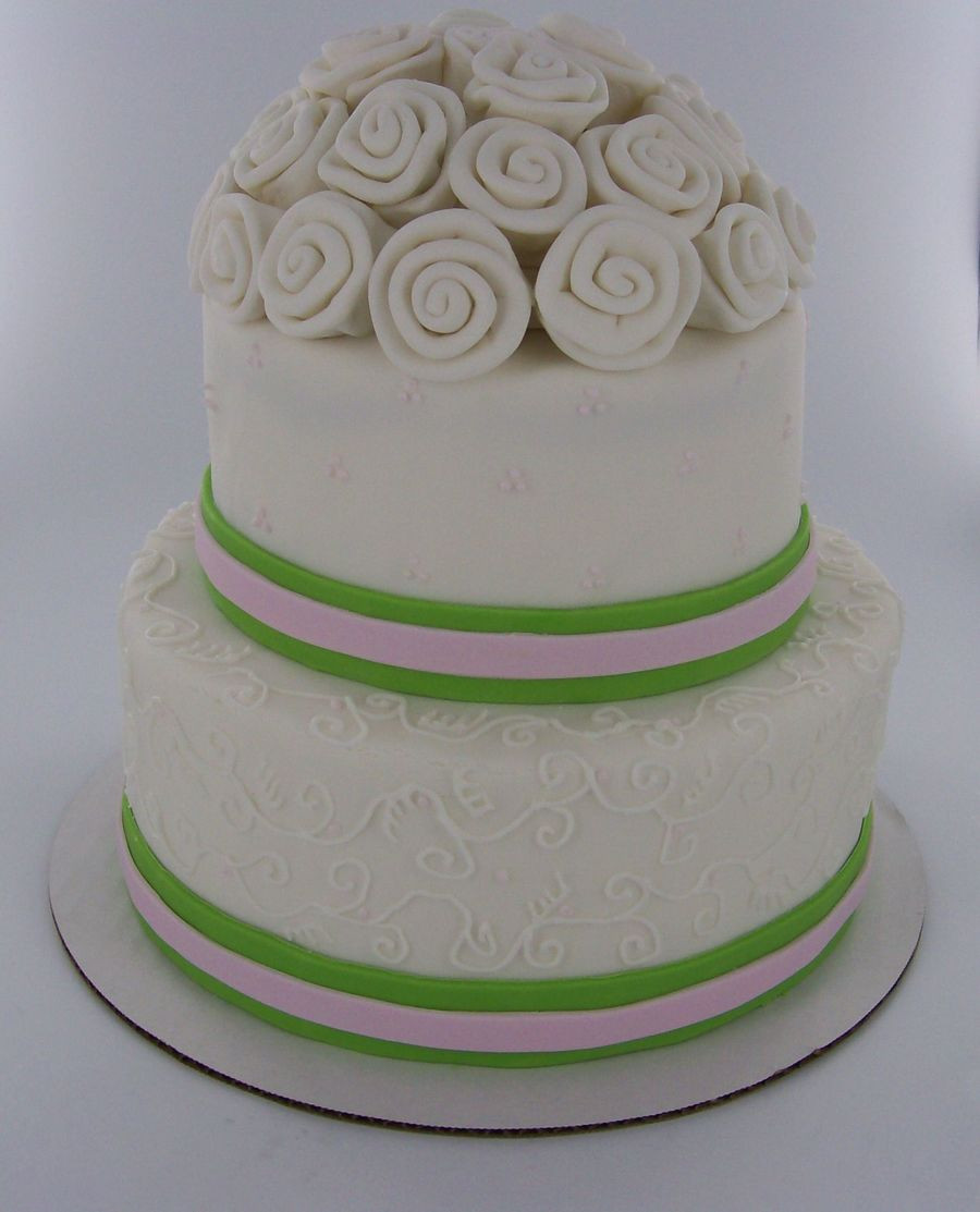 Simple 2 Tiered Wedding Cakes  Simple Two Tier Wedding Cake CakeCentral