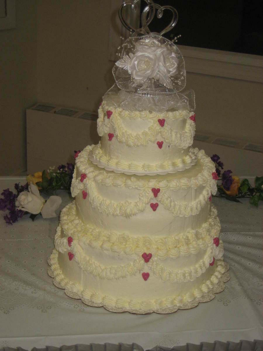 Simple 3 Tiered Wedding Cakes  Simple Hearts 3 Tier Wedding Cake CakeCentral