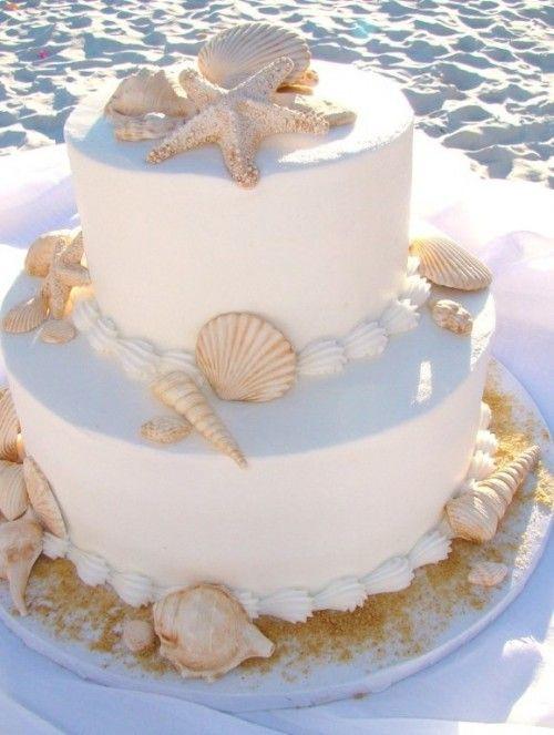 Simple Beach Wedding Cakes  shell and sand dollar wedding cake Cakes