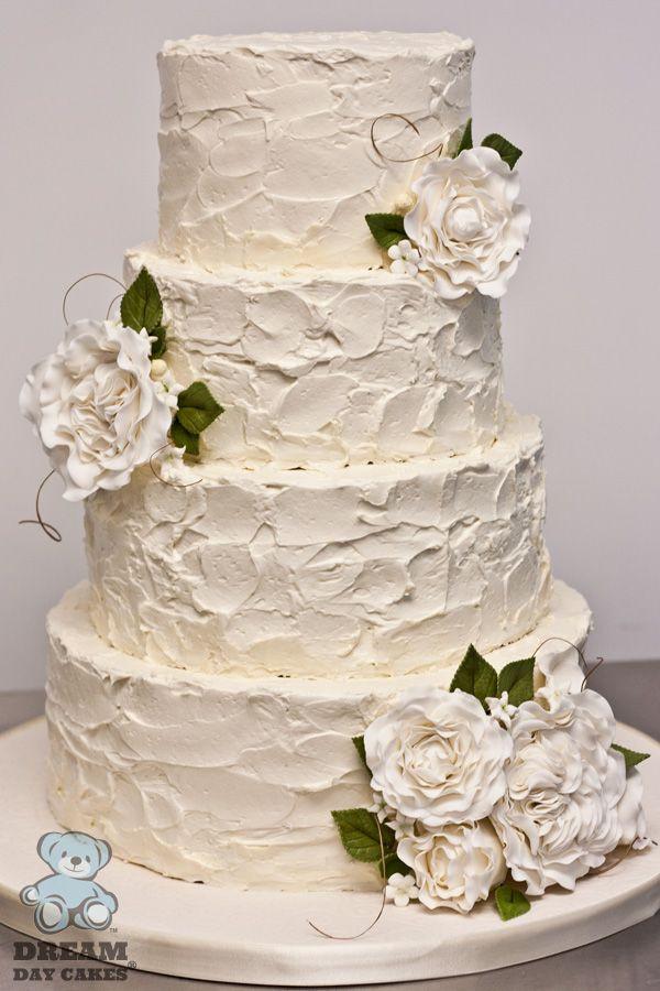 Simple Buttercream Wedding Cakes  Buttercream wedding cake with sugar flowers