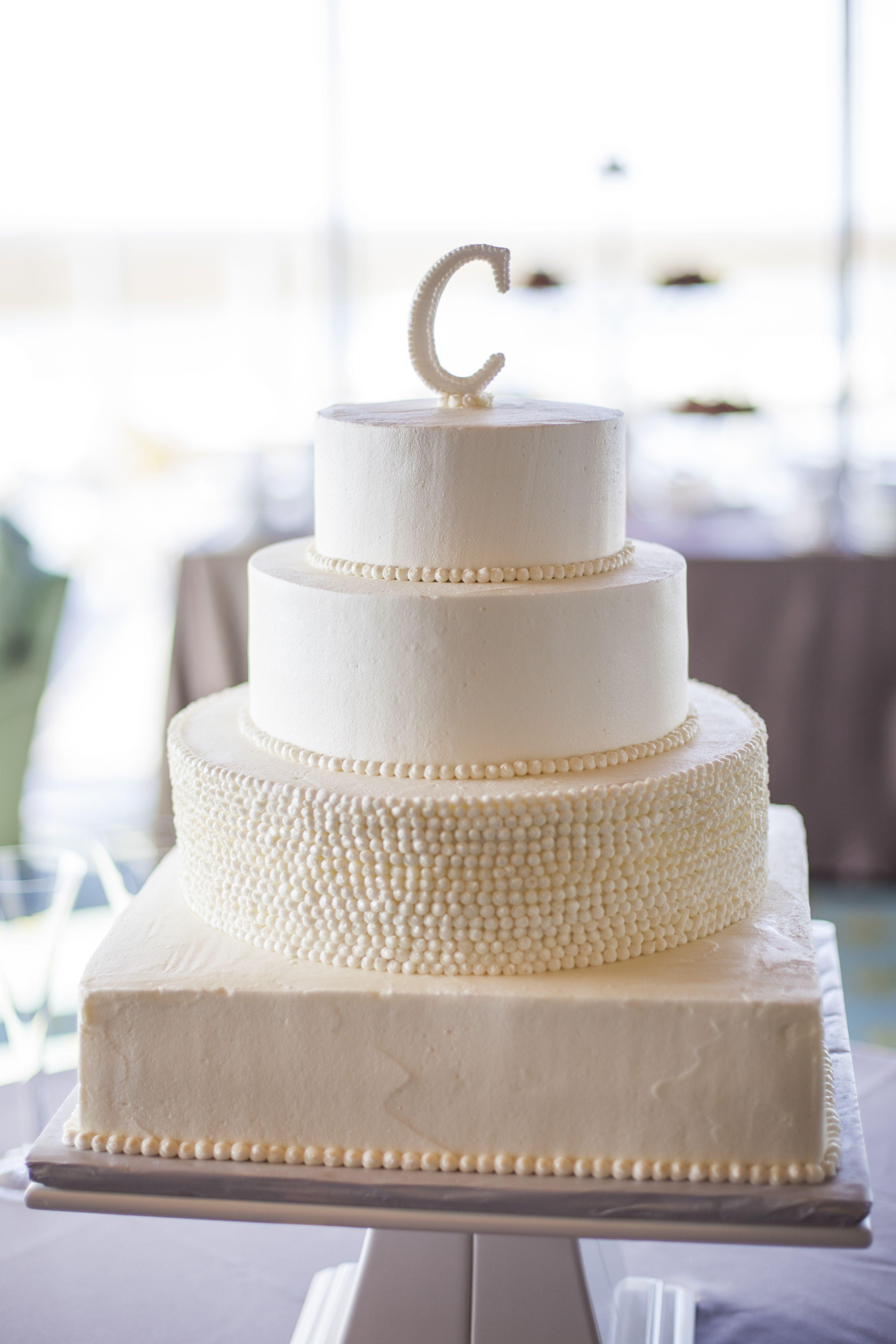 Simple Buttercream Wedding Cakes  simple elegant pearl white buttercream wedding cake