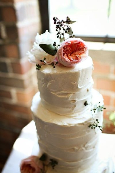 Simple Country Wedding Cakes  Simple rustic looking wedding cake topped with peonies