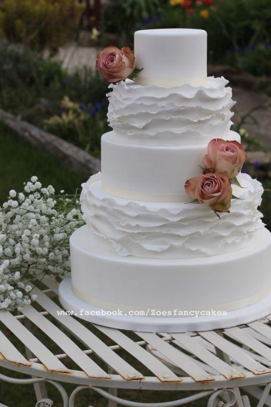 Simple Elegance Wedding Cakes  Simple elegant frills wedding Cake cake by Zoe s Fancy