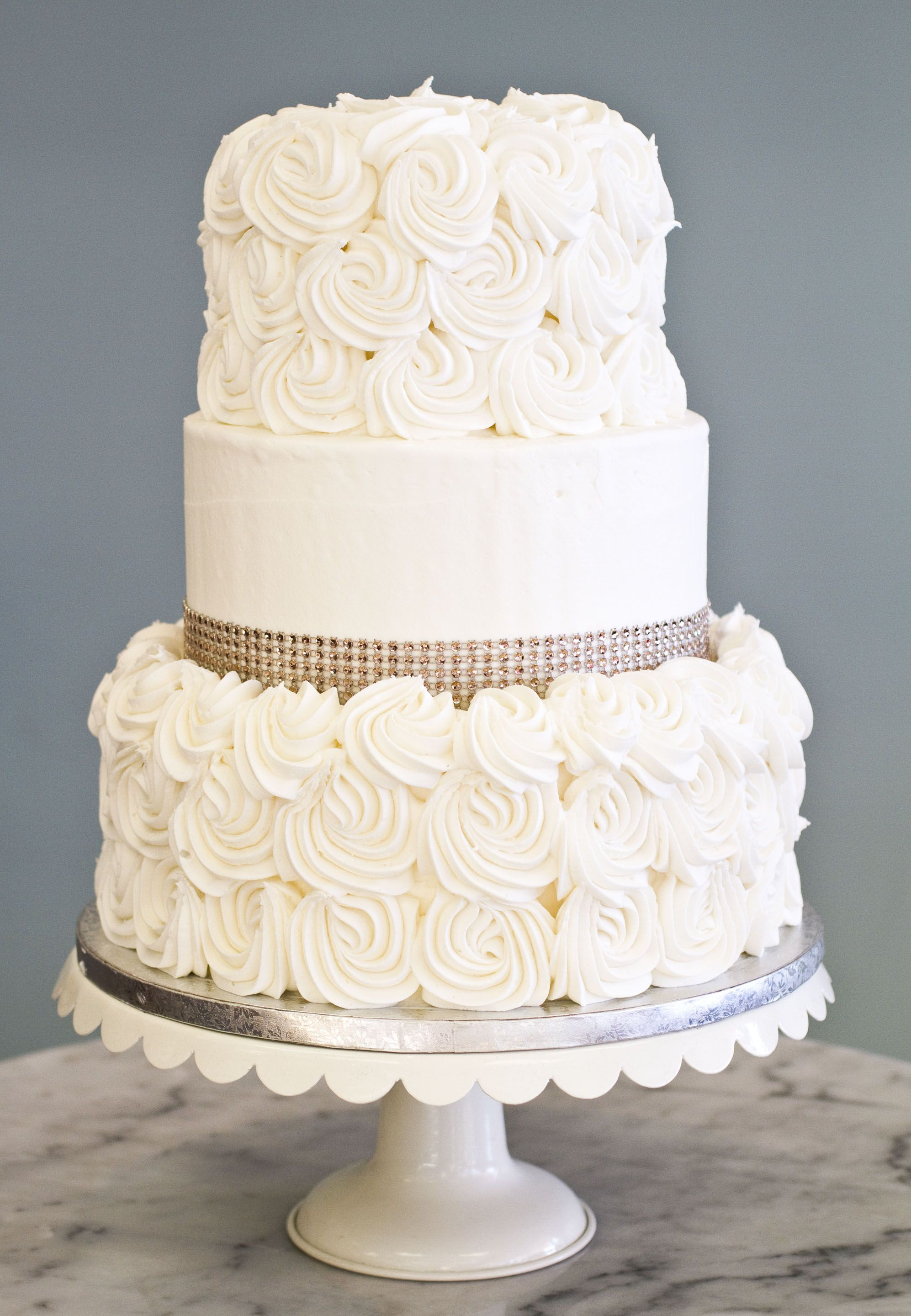 Simple Elegance Wedding Cakes  A simple elegant wedding cake with rosettes and