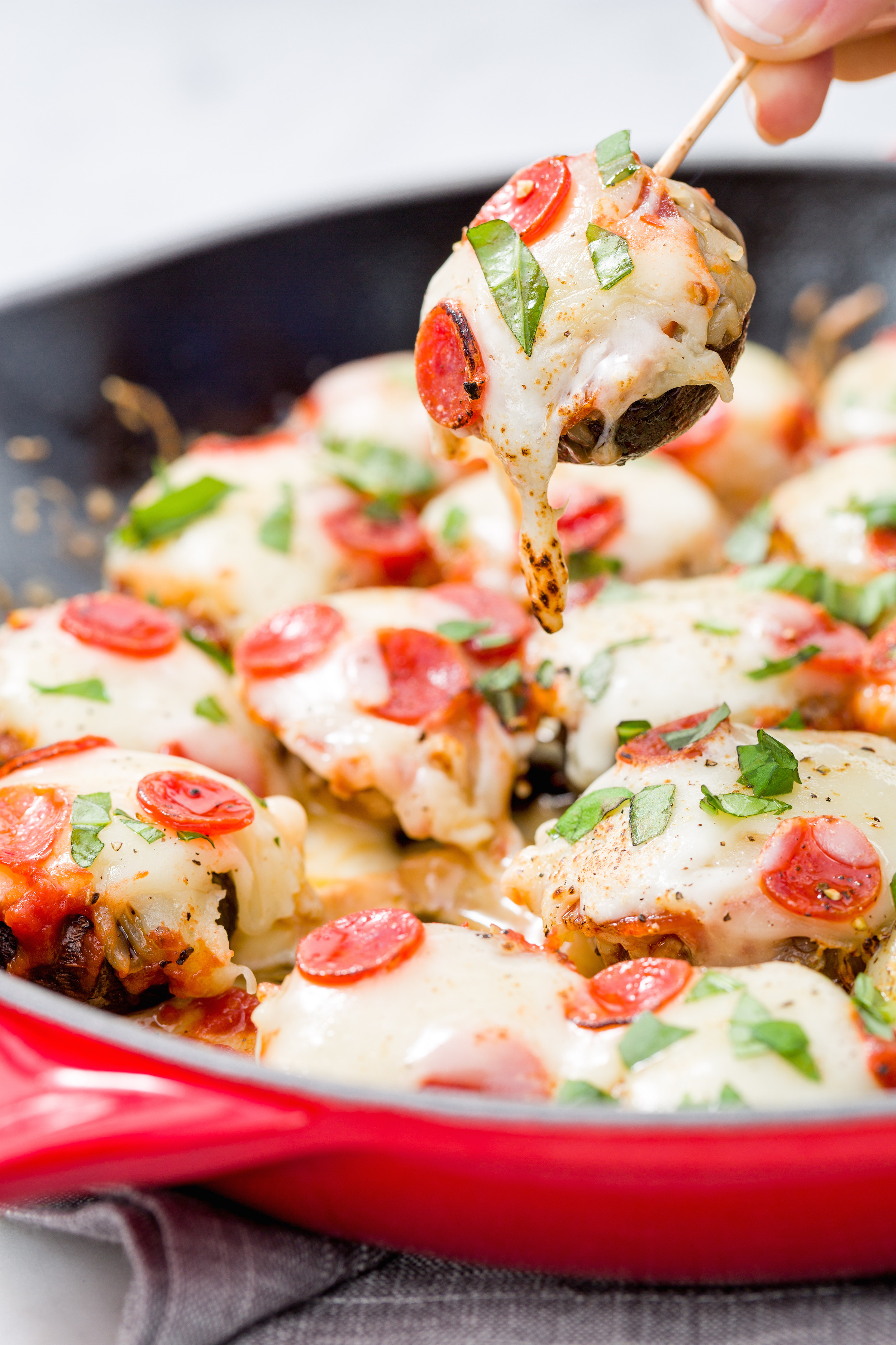 Simple Healthy Appetizers  delish pizza stuffed mushrooms